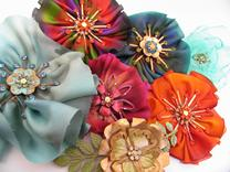 silk and hand painted metal flowers