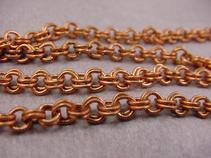 vintage copper coated steel double loop chain, 4mm OD